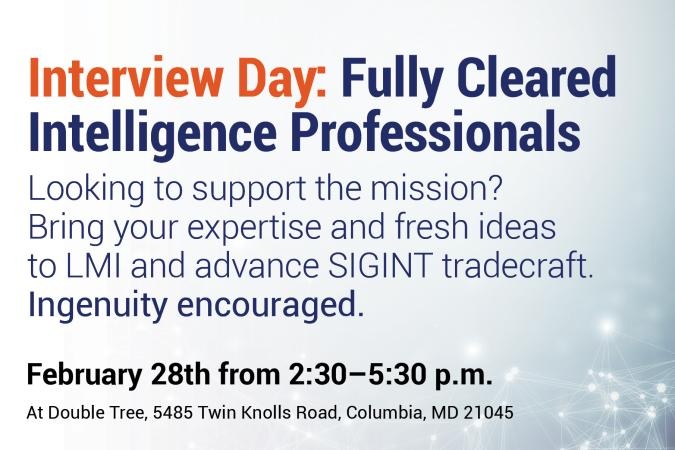 Interview Day: Fully Cleared Intelligence Professionals