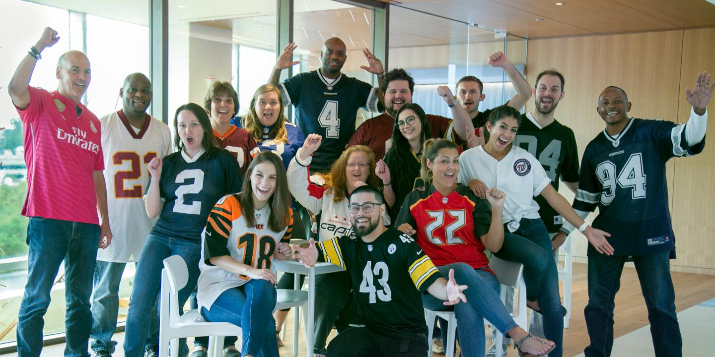 LMI Staff celebrating Jersey Day