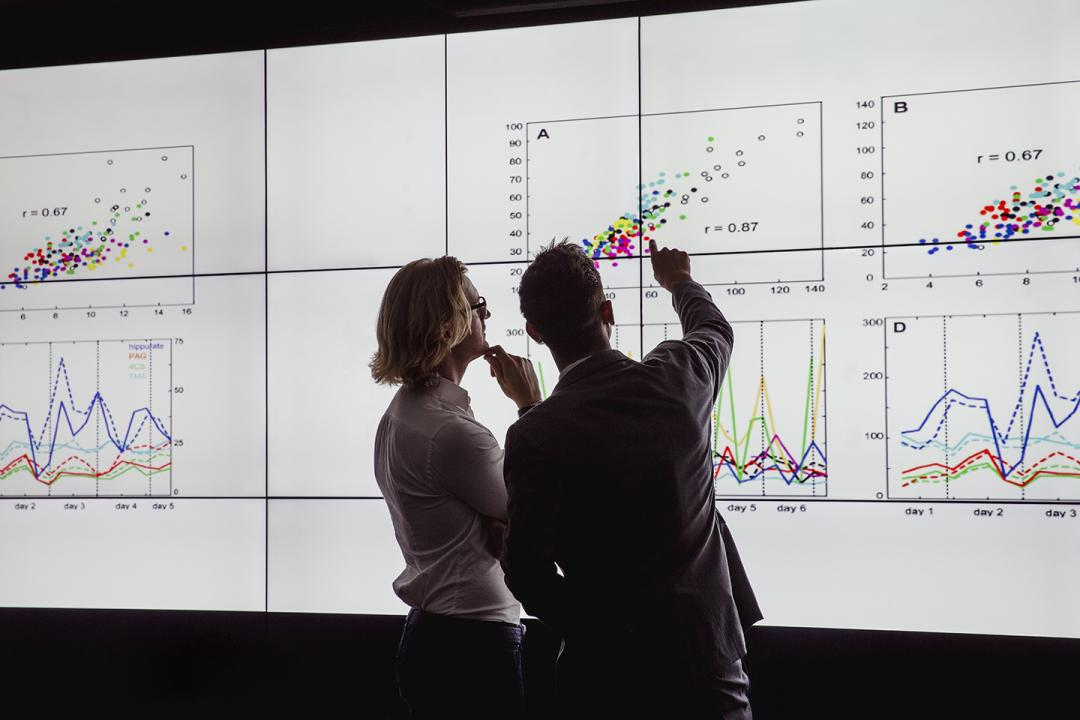Two people looking at data and charts