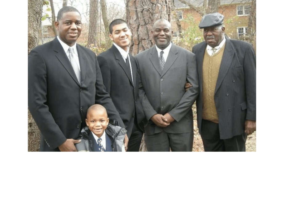 Mike (second from right) and the Dudley men (from left): brother EF Dudley and his son, EJ; Mike's son, Kevin; and dad, Sgt. Henry Dudley, U.S. Army (retired).